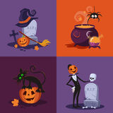 Cauldron, Pumpkin, Tomb and Cat Halloween Royalty Free Stock Photo