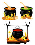 Cauldron set Royalty Free Stock Images
