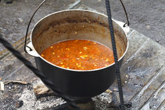 Cauldron of soup cooked on coals Stock Images