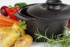 Cauldron with vegetables Royalty Free Stock Photos