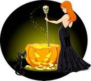 Cauldron witch Stock Image