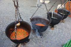 Cauldrons with different cooked dishes Royalty Free Stock Photos