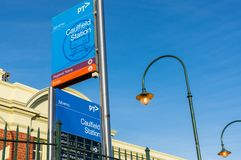 Caulfield Railway Station in the City of Glen Eira is a major suburban train station. Caulfield, Australia - February 17, 2018: Caulfield Railway Station was Royalty Free Stock Images