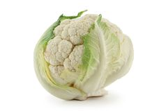 Cauliflower. Head of cauliflower isolated over a white background royalty free stock photo