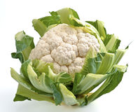 Cauliflower. Raw cauliflower with leaves, isolated on white royalty free stock photography