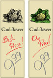 Cauliflower. Two Price Tags with Vintage Effect Royalty Free Stock Photo