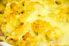 Cauliflower au gratin casserole with cheese crus. T royalty free stock photography