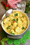 Cauliflower baked in bechamel. Royalty Free Stock Images