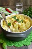 Cauliflower baked in bechamel. Cauliflower baked in bechamel with cheese royalty free stock images