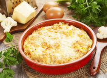 Cauliflower baked with cheese and eggs Royalty Free Stock Image