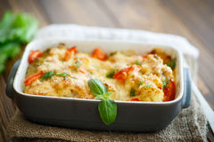 Cauliflower baked with  tomatoes Stock Photography