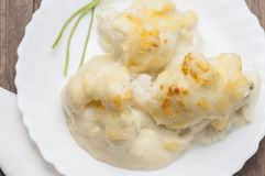 Cauliflower with bechamel series 06 Stock Images