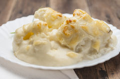 Cauliflower with bechamel series 04 Royalty Free Stock Photo