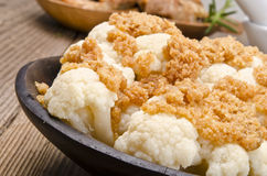 Cauliflower with breadcrumbs Royalty Free Stock Images