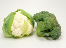 Cauliflower and broccoli royalty free stock photo