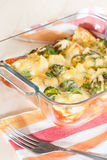 Cauliflower and broccoli baked with egg and cheese Stock Photos