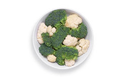 Cauliflower and broccoli in bowl Stock Photography