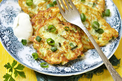 Cauliflower and broccoli fritters with cheese. Stock Images