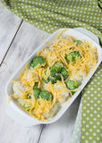 Cauliflower and broccoli gratin with cheese Royalty Free Stock Photos