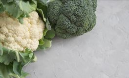 Cauliflower and broccoli head closeup on concrete table. Vegetables on the table. Copy space stock image