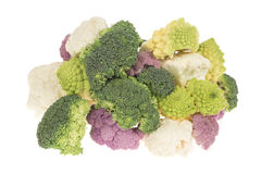 Cauliflower broccoli and roman cabbage heap Royalty Free Stock Photography