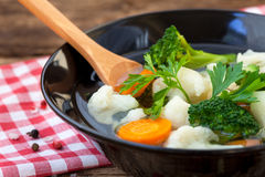 Cauliflower and broccoli soup Stock Photos