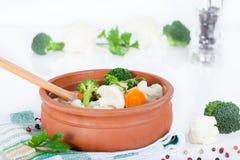 Cauliflower and broccoli soup Stock Image