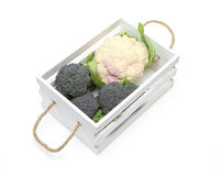 Cauliflower and Broccoli in a white wooden container Royalty Free Stock Image