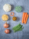 Cauliflower Carrot Peas Beans Sweet Corn and Onion royalty free stock images
