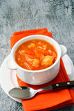 Cauliflower, carrot and rice tomato soup Stock Image