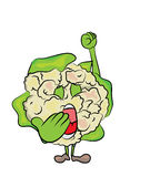 Cauliflower cartoon character Stock Images