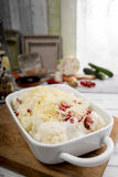 Cauliflower casserole with ham and bechamel sauce and cheese Stock Images