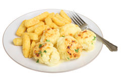 Cauliflower Cheese and Chips. Cauliflower cheese with chips, isolated on white Stock Photos
