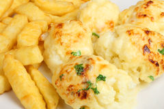 Cauliflower Cheese and Chips Royalty Free Stock Photography