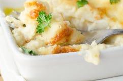 Cauliflower Cheese Dish with Fork Stock Photos