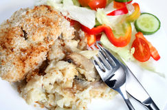 Cauliflower cheese with mushroom Stock Photo