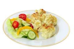 Cauliflower cheese and salad Stock Photo