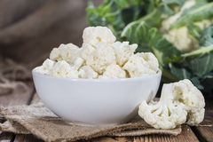Cauliflower (close-up shot). On dark rustic background Stock Image