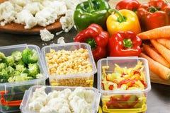 Cauliflower, corn, brocoli, carrot, pepper salad cooking. Cauliflower, corn, brocoli carrot pepper salad cooking container stock photos