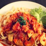 Cauliflower, courgette and tomato stew. Pasta. Royalty Free Stock Images