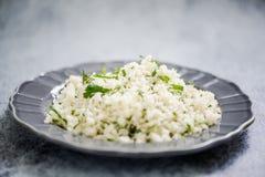Cauliflower couscous, alternative food royalty free stock photo