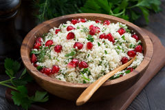 Cauliflower couscous with herbs and pomegranate, closeup Stock Photo