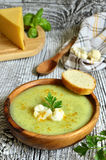 Cauliflower cream soup with cheese,herbs and curry. Stock Photo