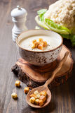Cauliflower cream soup. With croutons Stock Photography
