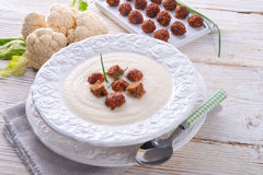 Cauliflower cream soup Stock Photography