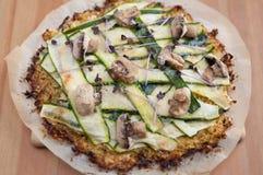 Cauliflower Crust Pizza. With vegetables Stock Photos