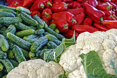 Cauliflower, cucumbers and red peppers Royalty Free Stock Photography
