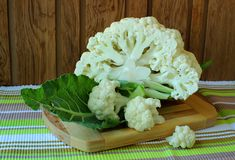 Cauliflower divided into florets Royalty Free Stock Image