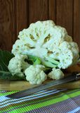 Cauliflower divided into florets Stock Photos