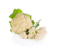 Cauliflower with green leaves on white background. Cauliflower with green leaves isolated on white Royalty Free Stock Photo
